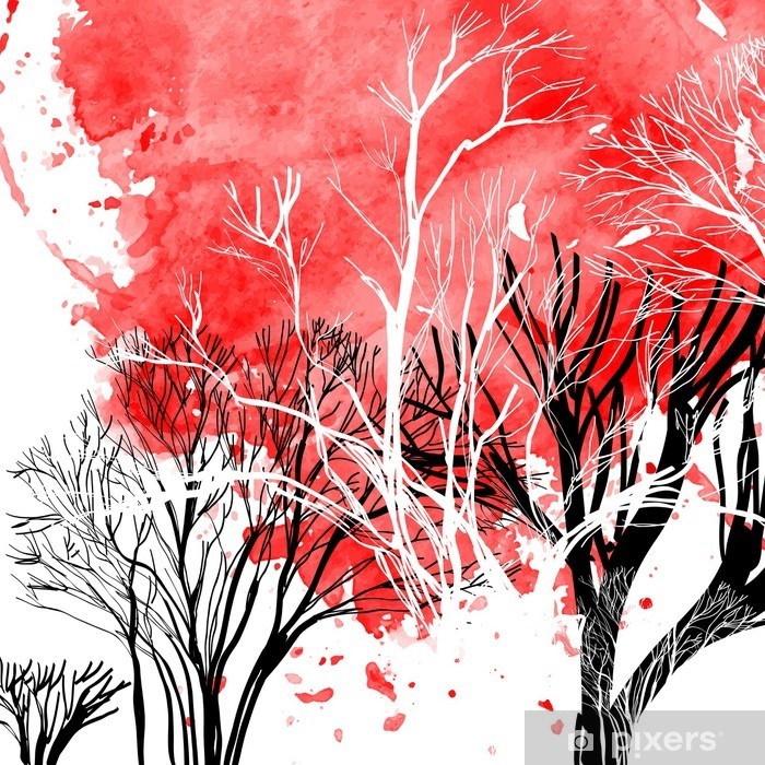 Vinyl Fotobehang Abstract silhouet van bomen - Thema's