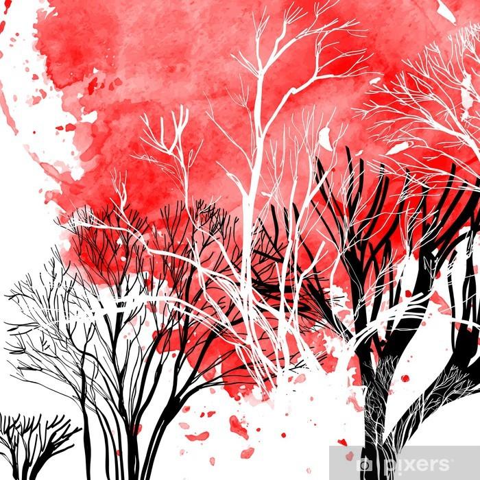 Naklejka Pixerstick Streszczenie sylwetka drzew - Tematy