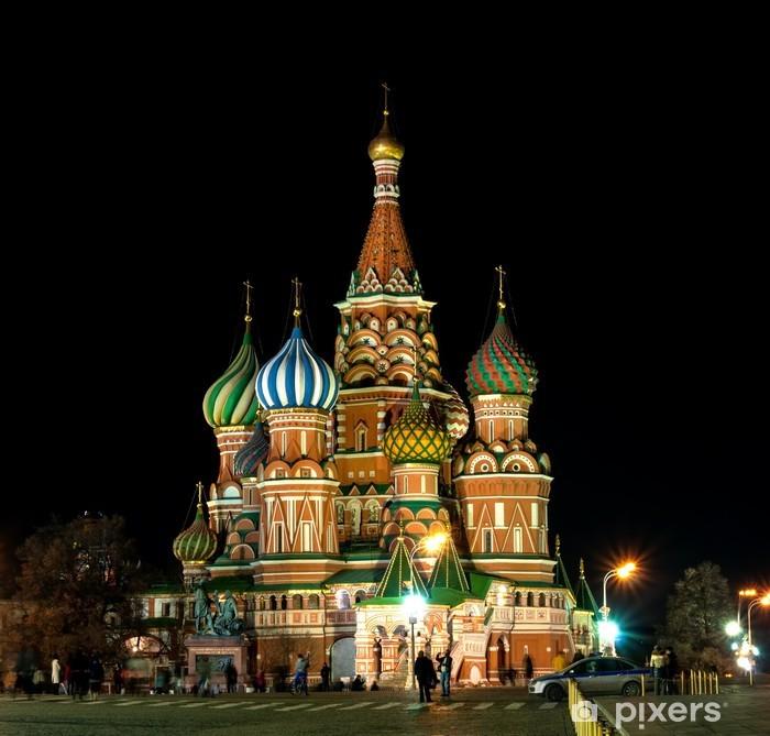 Papier peint vinyle Cathédrale St-Basile dans la nuit. Moscou, Russie - Villes d'Asie