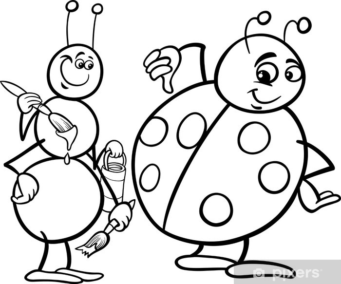 ant and ladybug coloring page Poster