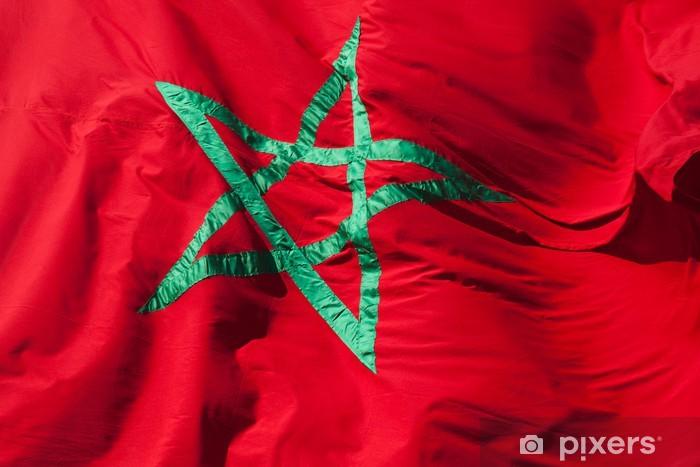 Adesivo Sventolando La Bandiera Nazionale Del Marocco Stella Verde
