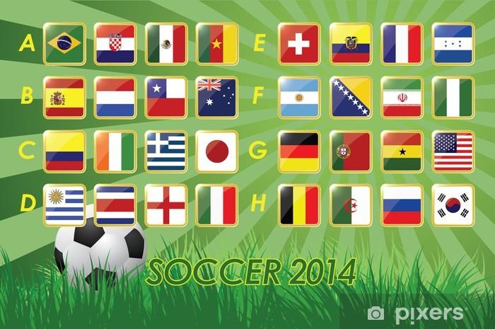 Sticker Pixerstick Drapeaux de l'équipe nationale de soccer 2014 sur fond - Signes et symboles