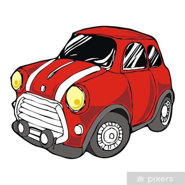 Fototapete Mini Retro Rotes Auto Cartoon Vektor