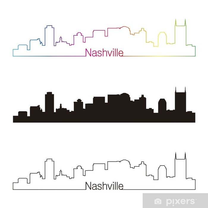 Nashville skyline linear style with rainbow Pixerstick Sticker - America
