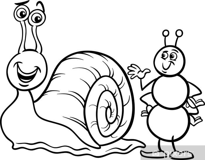 Karınca Ve Salyangoz Boyama Duvar Resmi Pixers Haydi Dünyanızı