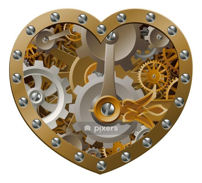Muursticker Steampunkuurwerk hart - steampunk