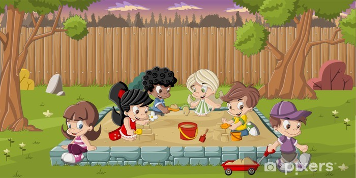 Nálepka Pixerstick Roztomilý karikatura děti hrají na pískovišti na zahradě -