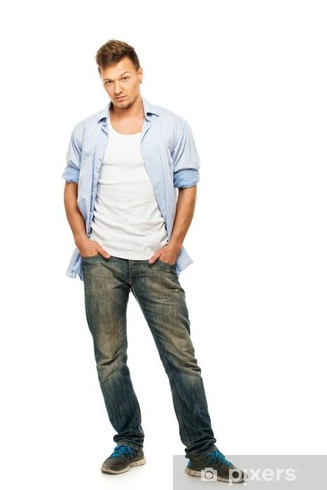 Vinilo Pixerstick Elegante Hombre En Camisa Azul Y Pantalones Vaqueros Con Pendiente Pixers Vivimos Para Cambiar