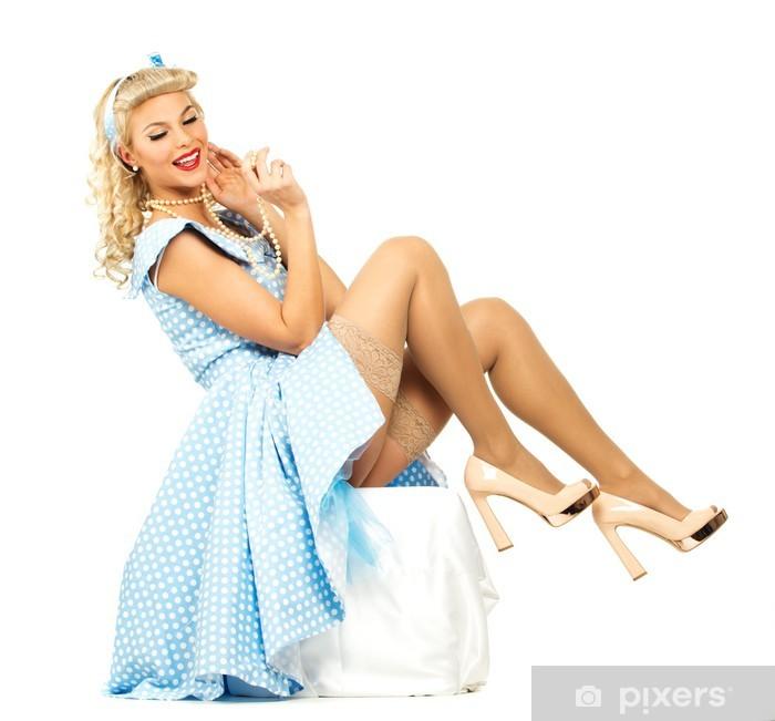 Aufkleber Sexy kokett blonde Pin Up Stil junge Frau im blauen Kleid Pixerstick