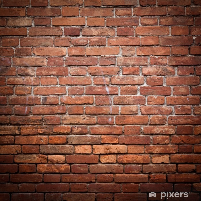 Old grunge red brick wall texture Pixerstick Sticker - Themes