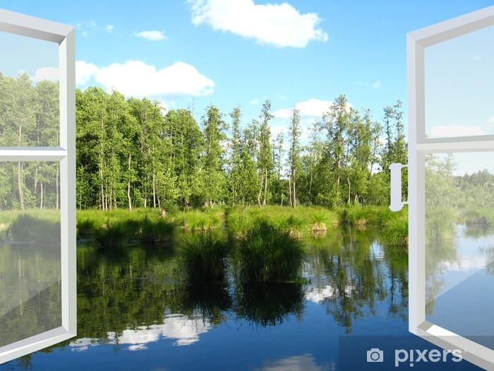 Fototapeta winylowa Otwarte okno na polu latem - iStaging