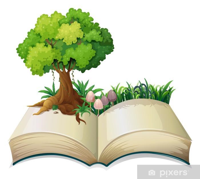 Bir ağaç ile açık bir kitap Duvar Resmi • Pixers® - Haydi ...