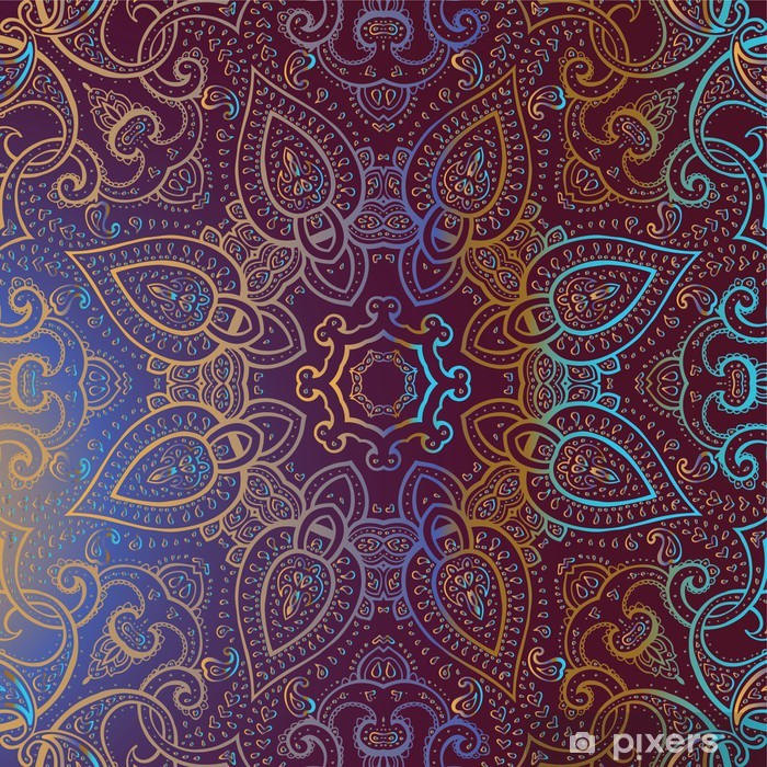 Vinilo Pixerstick Mandala. Patrón decorativo indio. - Estilos