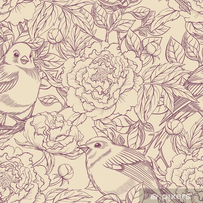 Fotomural Estándar Aves y peonías púrpura y beige - Estilos