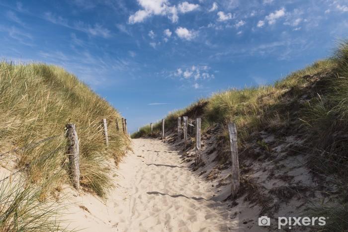 Naklejka Pixerstick Ścieżka na wydmy na wyspie Sylt. Niemcy. Wejście na plażę. - Niemcy