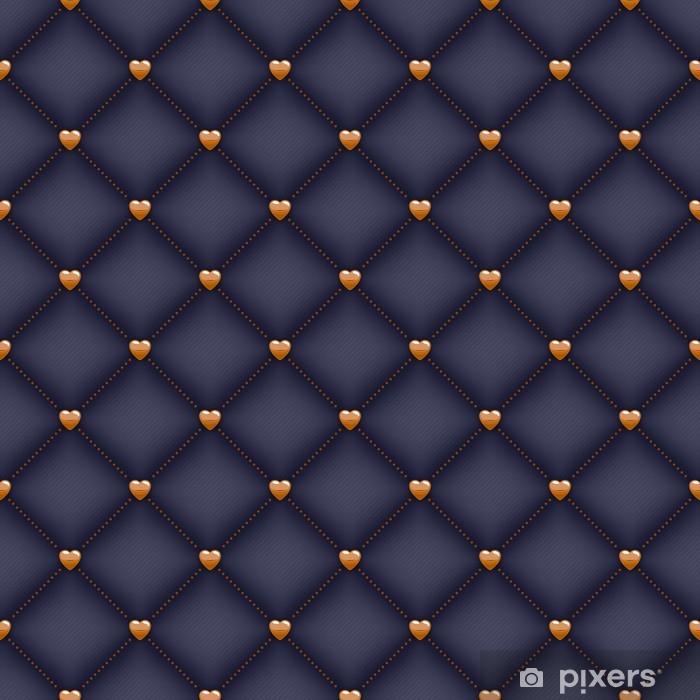 Pixerstick Sticker Naadloze zwarte gewatteerde achtergrond met gouden hart vormige pinnen. - Grondstoffen