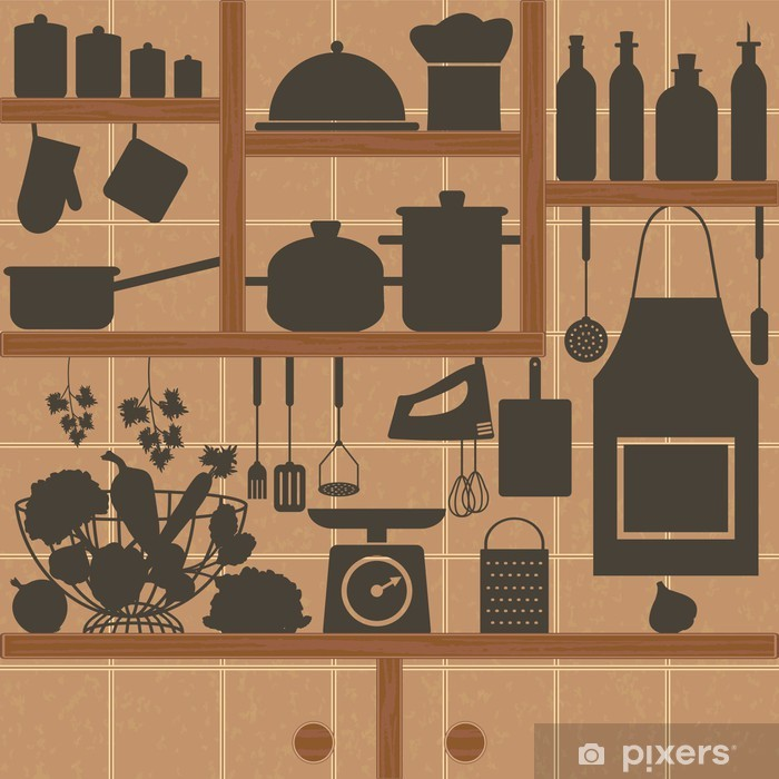 Restaurant And Kitchen Related Symbols On Tiled Background 2 Vinyl Wall Mural Themes