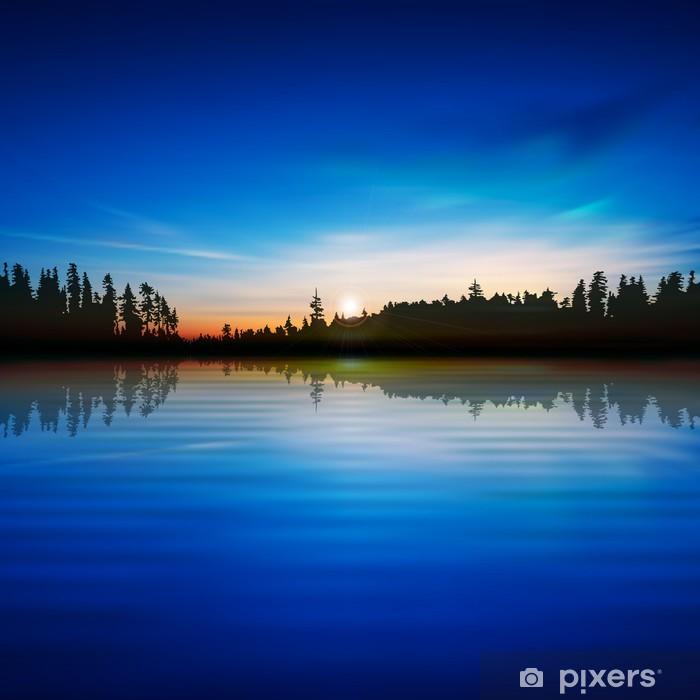 Papier peint vinyle Fond bleu abstraite de nature avec le lac de la forêt et le lever du soleil - Merveilles naturelles