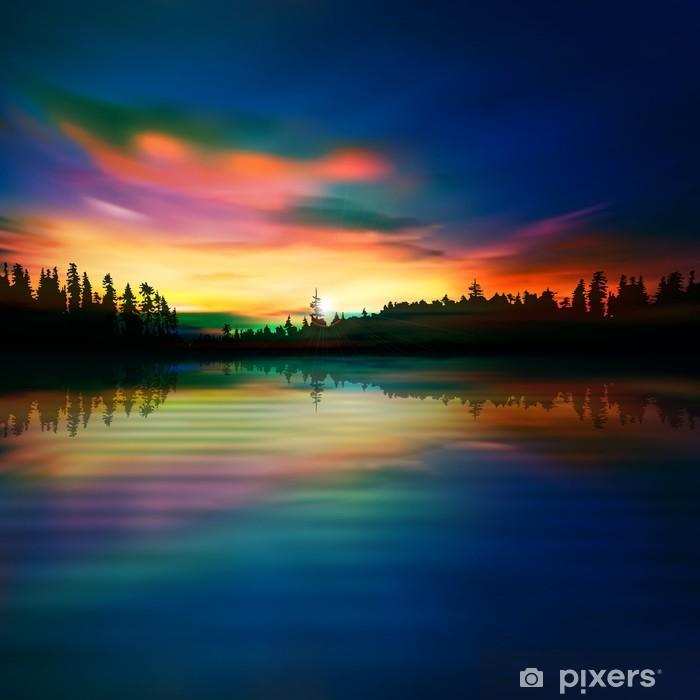 Plakát Abstraktní přírodní modré pozadí s lesním jezerem a východem slunce - Přírodní krásy