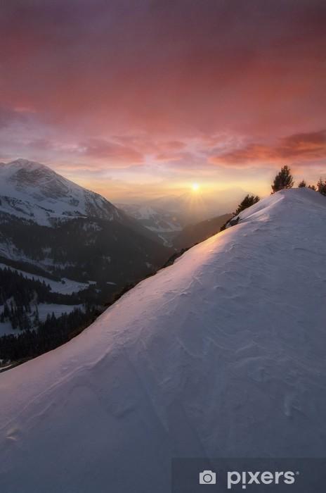 Papier peint vinyle Coucher de soleil coloré - Sports d'hiver