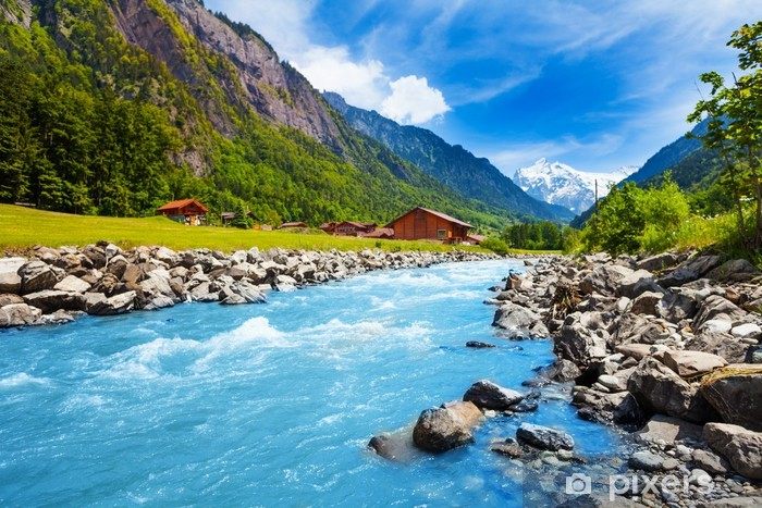 Swiss landscape with river stream and houses Pixerstick Sticker - Themes