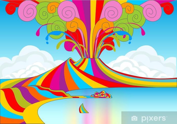 Naples and Vesuvio in Rainbow Eruption Wardrobe Sticker - Mountains