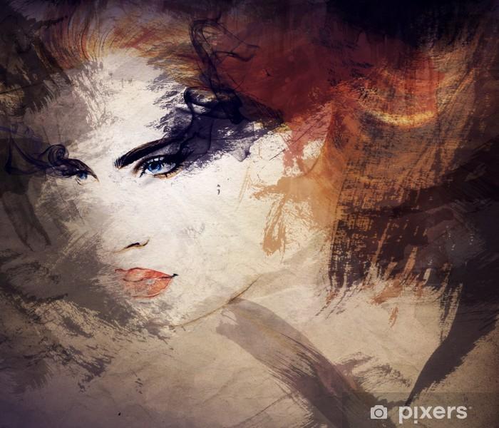 Naklejka Pixerstick Abstrakcyjna akwarela .woman portret - Style