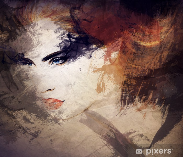 Pixerstick Sticker Abstract aquarel, vrouwenportret - Stijlen