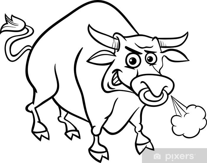 Boğa çiftlik Hayvanları Boyama çıkartması Pixerstick Pixers