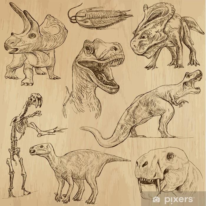 Poster Dinosaurier Nr. 3 - eine Hand gezeichnete Illustrationen, Vektor-Set - Andere Andere