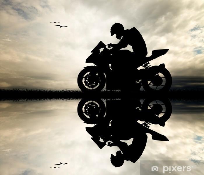 Naklejka Pixerstick Człowiek motocyklista na zachodzie słońca - Mężczyźni