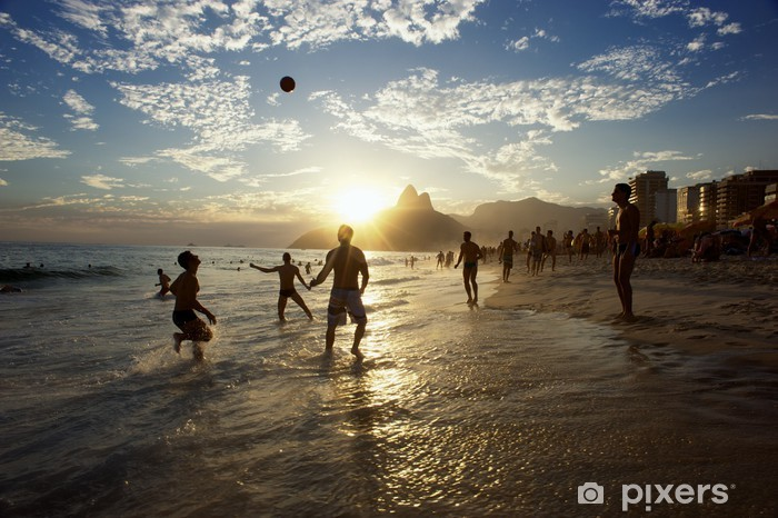 Silhouettes of Carioca Brazilians Playing Altinho Beach Football Pixerstick Sticker - American Cities
