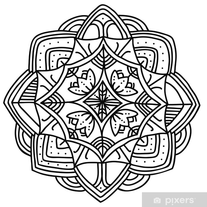 Vinilo Pixerstick Aislado mandala ornamental. Vector art - Vinilo para pared