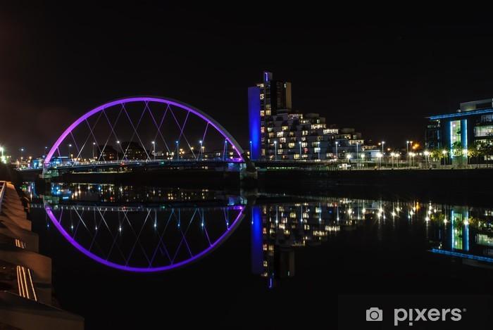 Clyde Arc bridge in Glasgow at night Vinyl Wall Mural - Europe