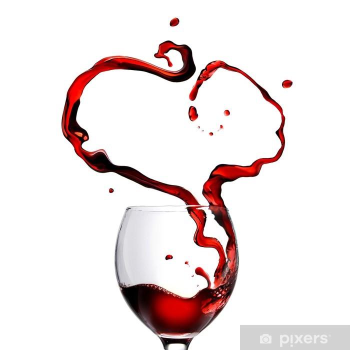 Sticker Pixerstick Coeur de verser le vin rouge en verre isolé sur blanc - Repas