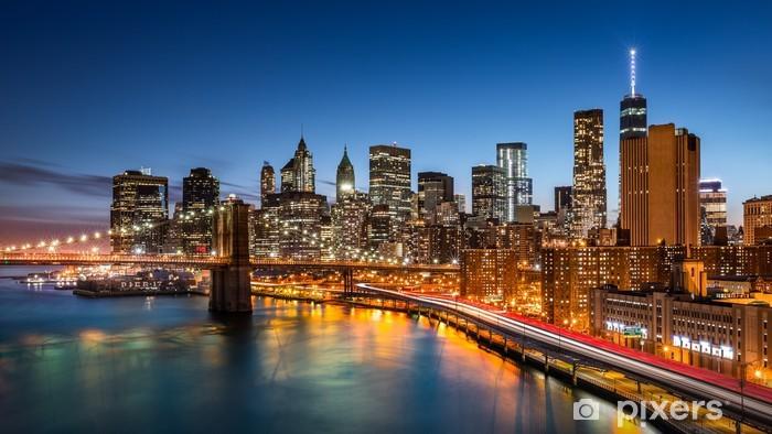 Brooklyn Bridge and the New York Financial District at dusk Vinyl Wall Mural - Themes