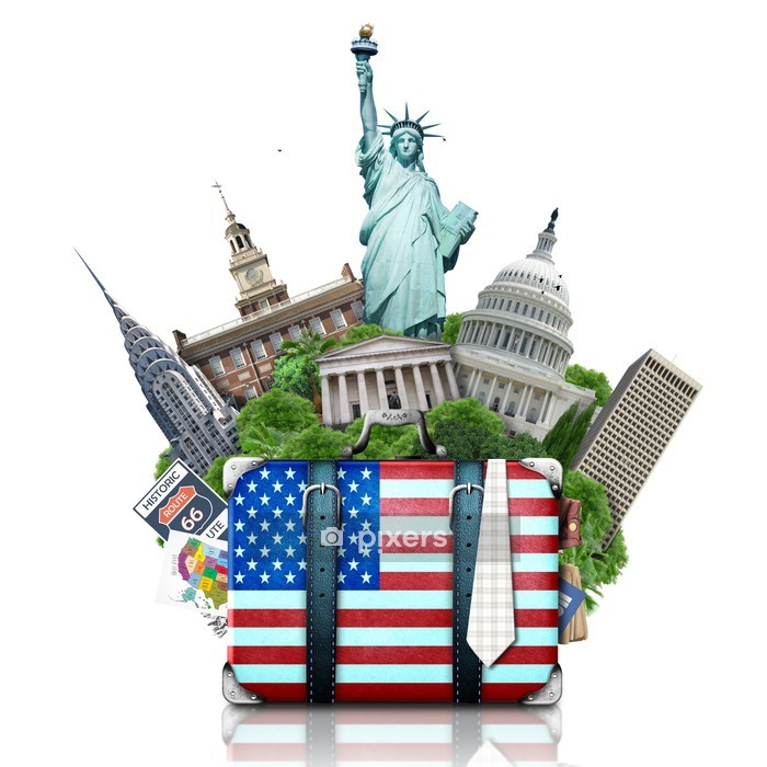 USA, landmarks USA, suitcase and New York Wall Decal - Wall decals