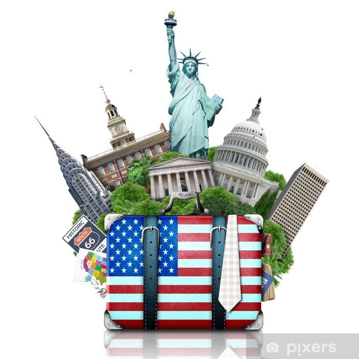Fototapeta winylowa USA, Zabytki USA, walizkę i Nowy Jork - Naklejki na ścianę