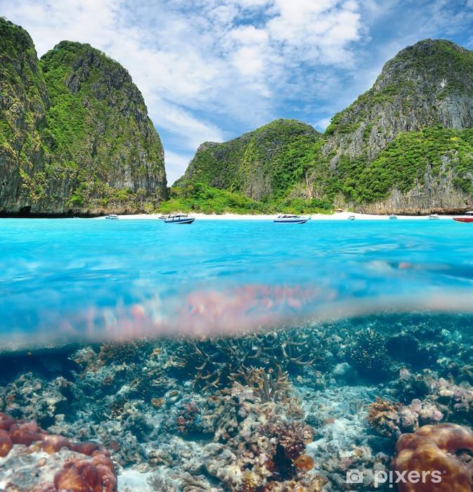 Pixerstick Sticker Lagune met koraalrif onderwatermening - Onderwater