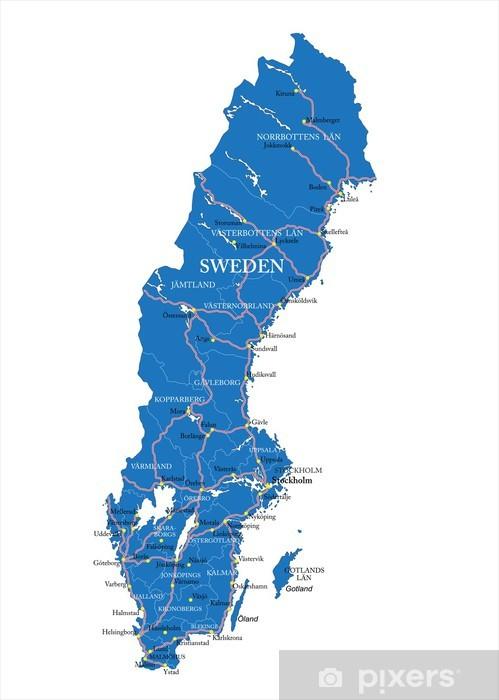 Fototapeta Szwecja Mapa Pixers Zyjemy By Zmieniac