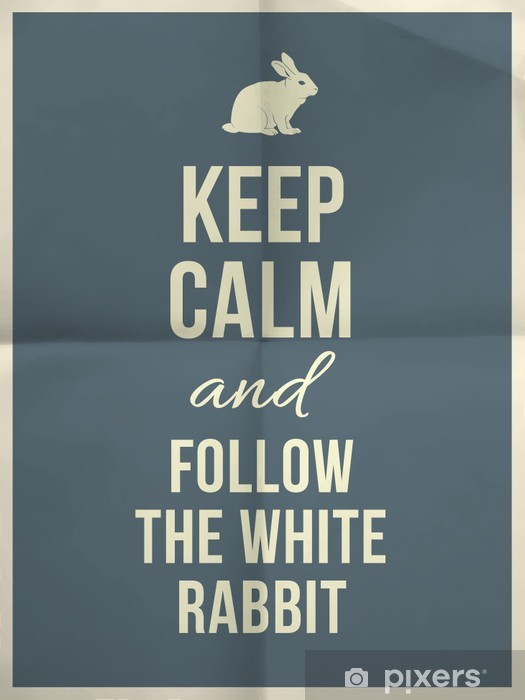 Keep calm and fallow the white rabbit quote on paper texture Vinyl Wall Mural -
