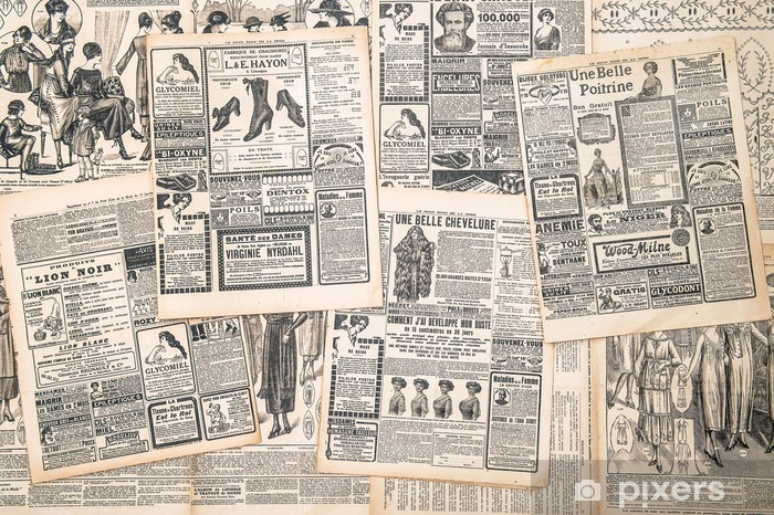 newspaper pages with antique advertisement Pixerstick Sticker - Textures