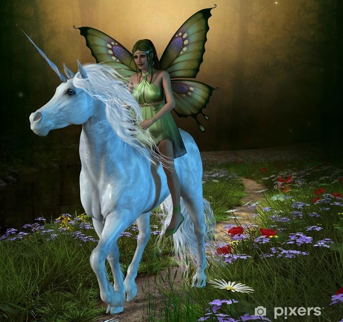 Plakat w ramie Las Fairy i Unicorn -