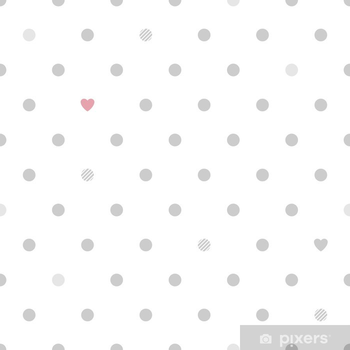 Polka dots with hearts seamless pattern - white and gray. Vinyl Wall Mural - Themes