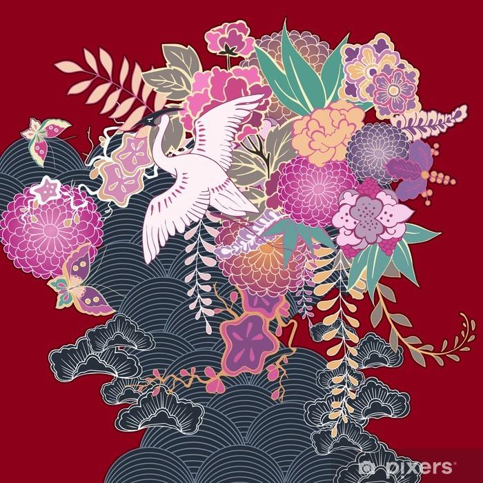Vintage kimono floral motif Poster - Flowers