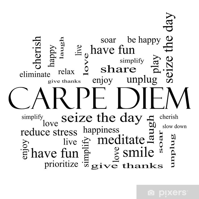 Carpe Diem Word Cloud Concept in black and white Washable Wall Mural - iStaging
