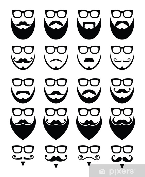 Beard and glasses, hipster icons set Vinyl Wall Mural - Signs and Symbols