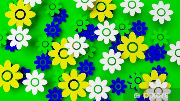 Vinylová fototapeta Barevné pole s květinami na zeleném pozadí - Vinylová fototapeta