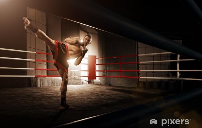 Fototapet av Vinyl Ung man kickboxning i arenan - Teman