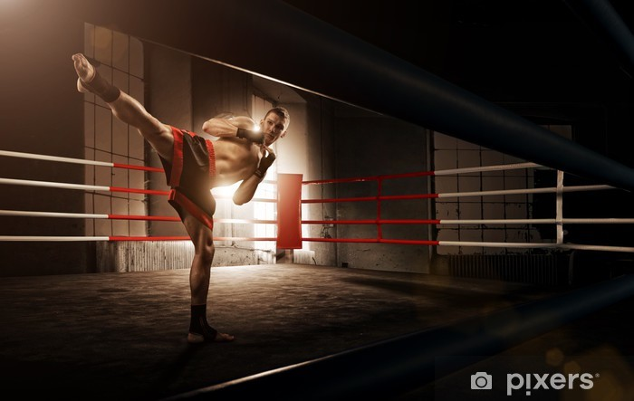 Papier peint vinyle Jeune kickboxing homme dans l'arène - Thèmes